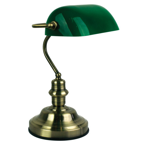 Bankers Anitique Brass and Gloss Green Touch Desk Lamp