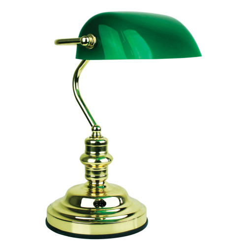 Bankers Polished Brass and Gloss Green Touch Desk Lamp