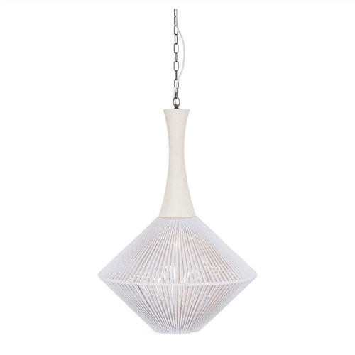 Nest White Rope and Wood Top Pendant Light