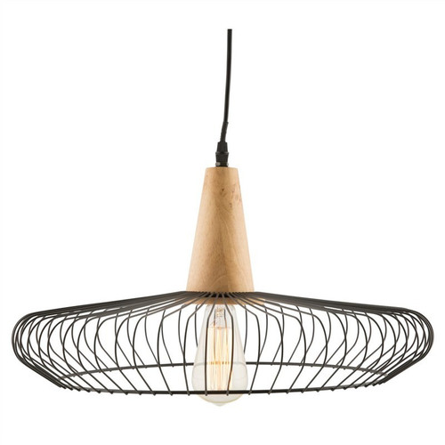 Piper Iron and Wood Geo Industrial Pendant Light