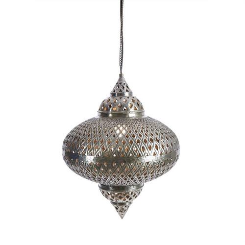 Farah Wide Shell Silver Moroccan Pendant Light