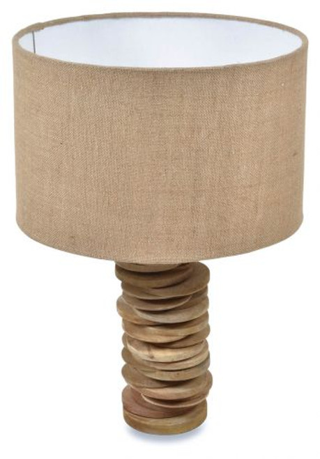 Stacked Wood Disc With Jute Shade Table Lamp