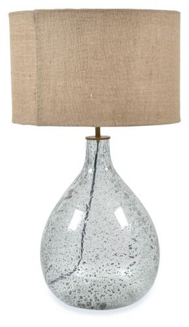 Tall Seeded Glass With Jute Shade Table Lamp