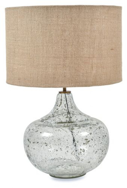 Round Seeded Glass With Jute Shade Table Lamp