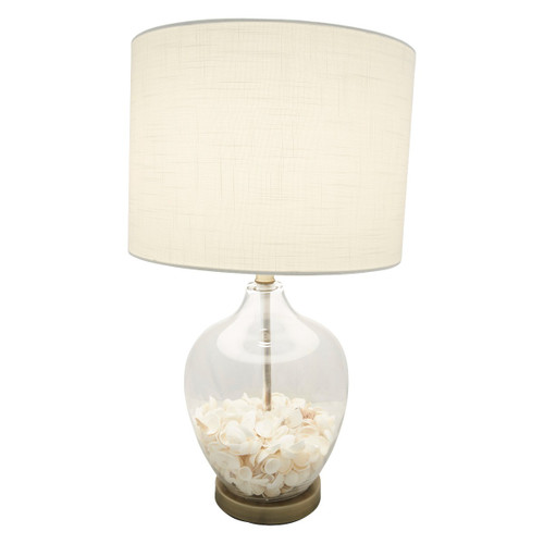 Corinne Glass Shell With White Linen Table Lamp