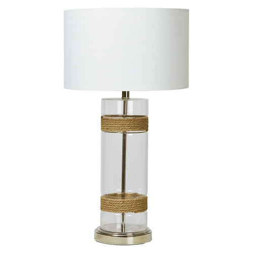 Hanna Clear Cylinder Glass With Rope Detail Table Lamp