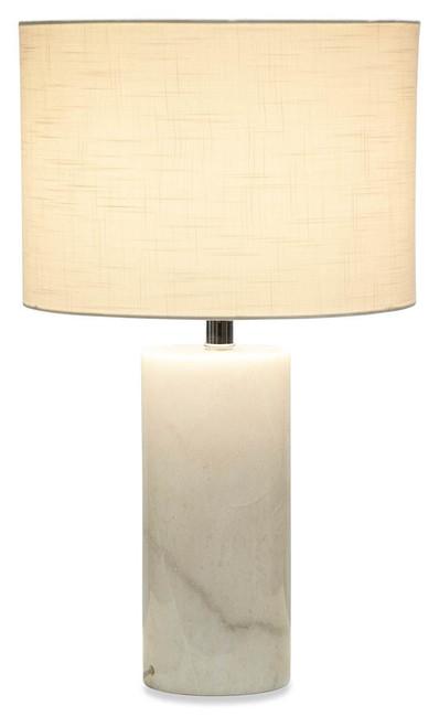 Margo White Cylinder Marble Base Table Lamp