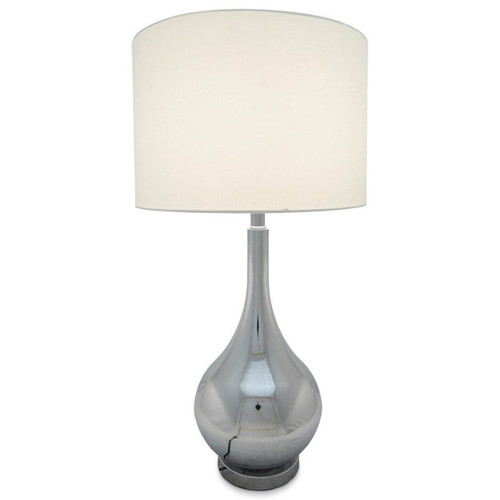 Callie Chrome Bottle With Linen Shade Table Lamp