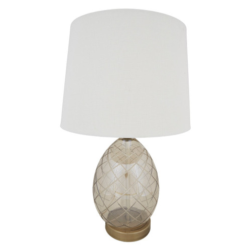 Luna Champagne Egg Glass Antique Brass With Linen Shade Table Lamp