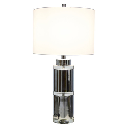 Camila Tall Crystal And Metal With Off White Linen Shade Table Lamp