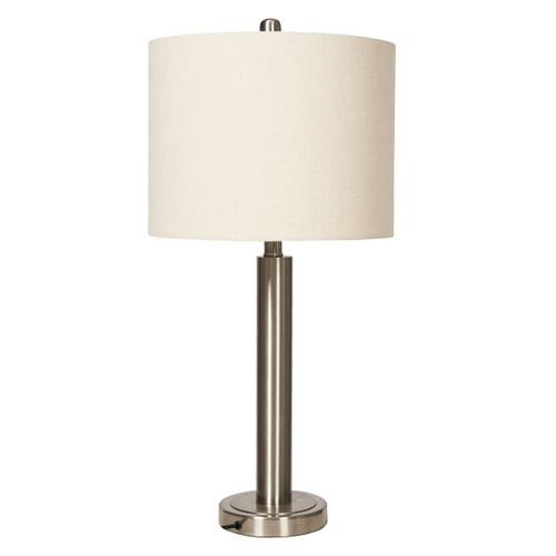 Lily Brush Nickel With Oatmeal Linen Shade Table Lamp