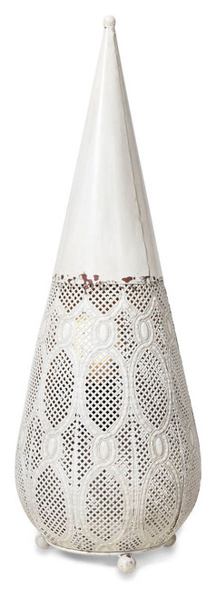 Filigree Antique White Moroccan Floor Lamp - Large