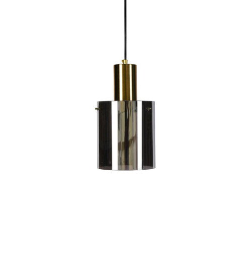 Alyssa Cylindrical Gold Top Smoke Glass Pendant Light
