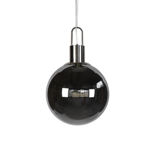 Claire Round Nickel Smoke Glass Pendant Light - Medium