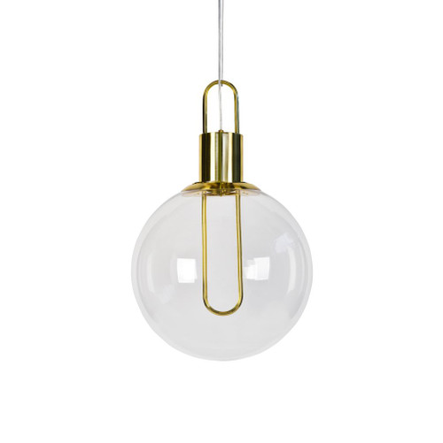 Claire Round Gold Clear Glass Pendant Light - Medium
