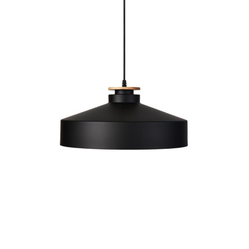 Lyra Wide Black Industrial Pendant Light
