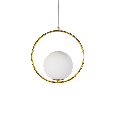 Lucy Round Gold and Opal White Pendant Light