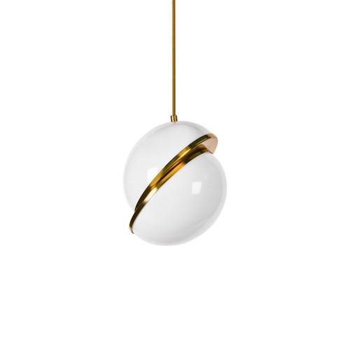 Maya Moon Gold and Opal White Pendant Light