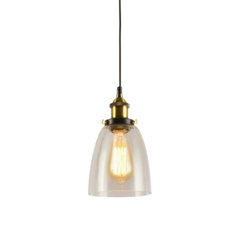Posie Cone Clear Glass Vintage Pendant Light