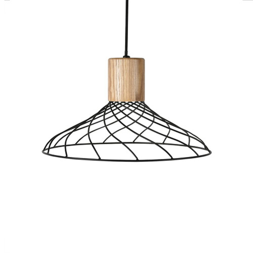 Renong Wide Black Metal Cage and Wood Top Pendant Light