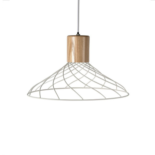 Renong Wide White Metal Cage and Wood Top Pendant Light