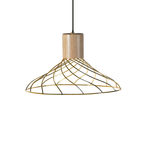 Renong Wide Gold Metal Cage and Wood Top Pendant Light