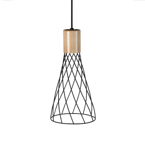 Renong Tall Black  Metal Cage and Wood Top Pendant Light