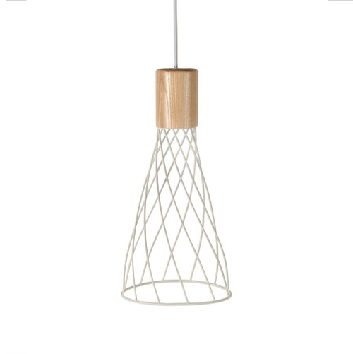 Renong Tall White Metal Cage and Wood Top Pendant Light