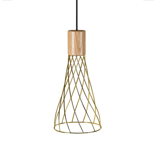 Renong Tall Gold Metal Cage and Wood Top Pendant Light