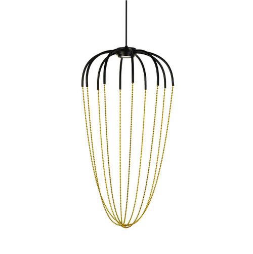 Tara Black Gold Beaded LED Pendant Light - Large