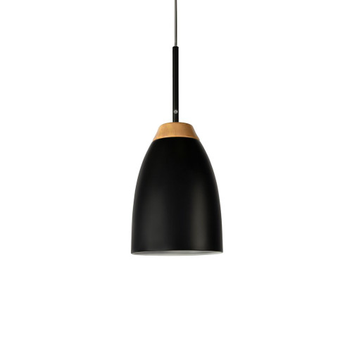 Watchman Bell Black Wood Top Single Pendant Light