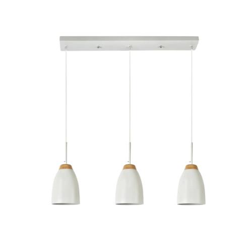 Watchman Bell White Wood Top 3 Light Linear Bar Pendant Light