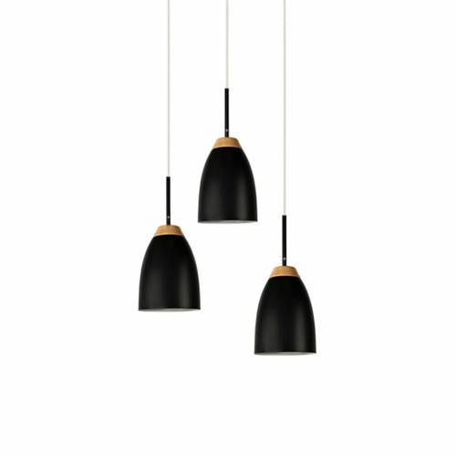 Watchman Bell Black Wood Top 3 Light Round Pendant Light