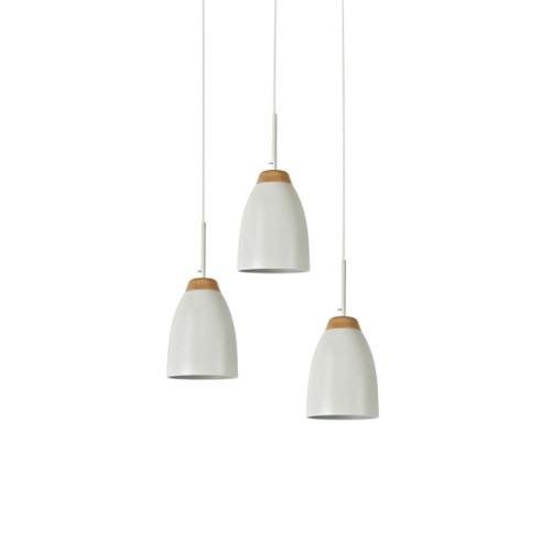 Watchman Bell White Wood Top 3 Light Round Pendant Light