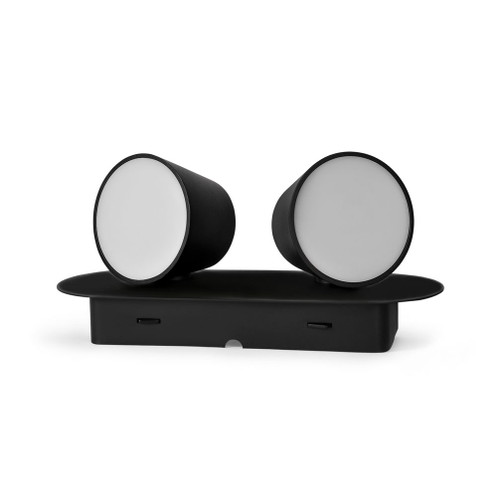 Telescope 2 Light Black LED Wall Light with Switch
