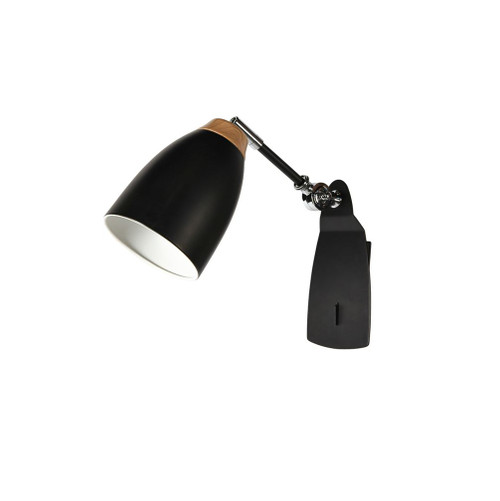 Watchman Bell Black Wood Top Wall Light with Switch