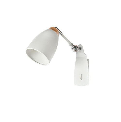 Watchman Bell White Wood Top Wall Light with Switch