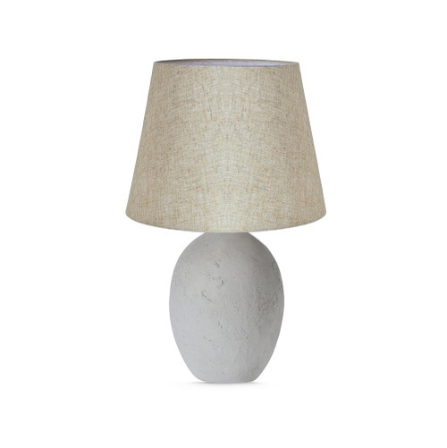 Concrete Oval Base with Linen Shade Table Lamp