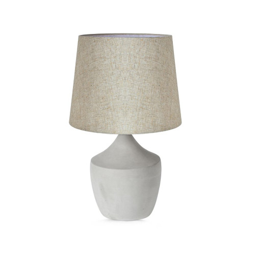 Concrete Pot Base with Linen Shade Table Lamp