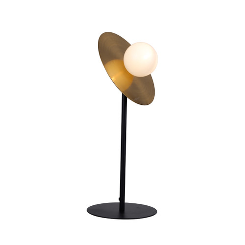 Space Black Base Brass Disc Table Lamp