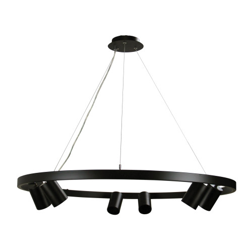 Reed Black Ring with 6 Spot Heads Pendant Light