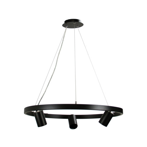 Reed Black Ring with 3 Spot Heads Pendant Light