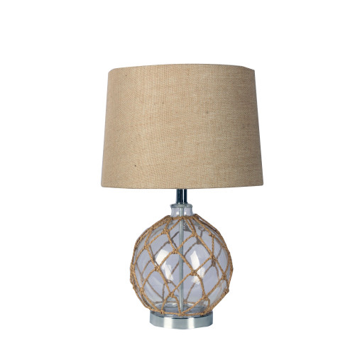 Zoe Round Glass Base with Natural Fibre Net Table Lamp