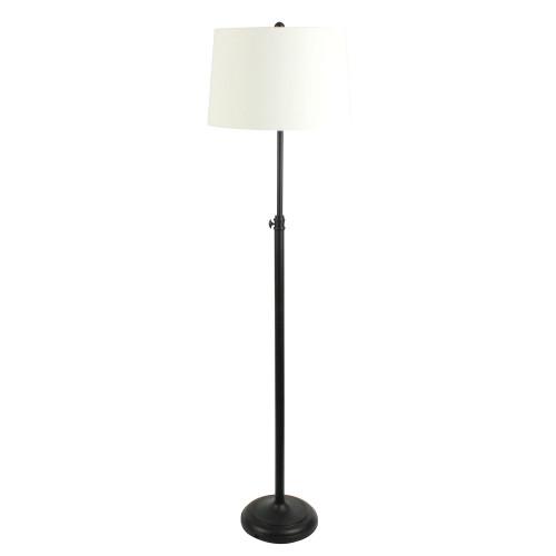 Ursula Black with Ivory Linen Shade Adjustable Floor Lamp