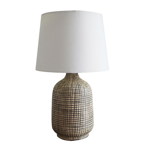 Cameron Ceramic with Tapered Ivory Linen Shade Table Lamp