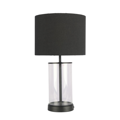 Walter Cylindrical Glass with Black Cotton Drum Shade Table Lamp