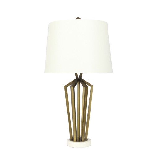 Summer Geometric Bronze Metal Base with Ivory Linen Shade Table Lamp