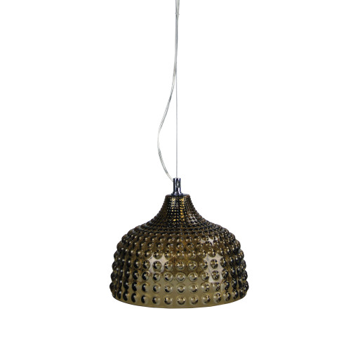 Bubbly Dome Amber Glass Pendant Light