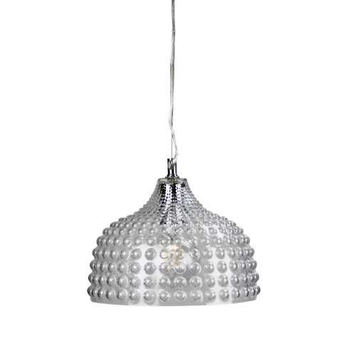Bubbly Dome Clear Glass Pendant Light
