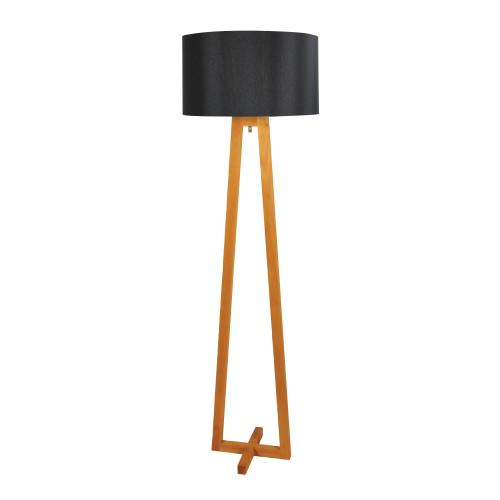Ezra Natural Timber Scandi with Black Shade Floor Lamp